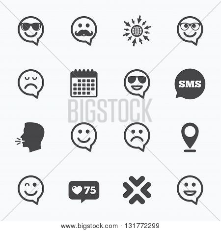 Calendar, go to web and like counter. Smile speech bubbles icons. Happy, sad and wink faces signs. Sunglasses, mustache and laughing lol smiley symbols. Sms speech bubble, talk symbols.
