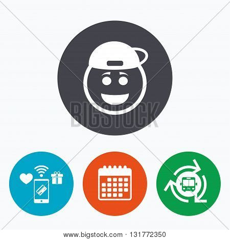 Smile rapper face sign icon. Happy smiley with hairstyle chat symbol. Mobile payments, calendar and wifi icons. Bus shuttle.
