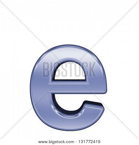 One lower case from shiny blue alphabet set, isolated on white.