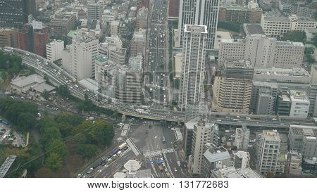 View of the city of Tokyo, capital of Japan from the Tokyo Tower on a cloudy day