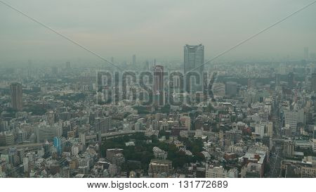 View of the city of Tokyo, capital of Japan from the Tokyo Tower on a cloudy day.