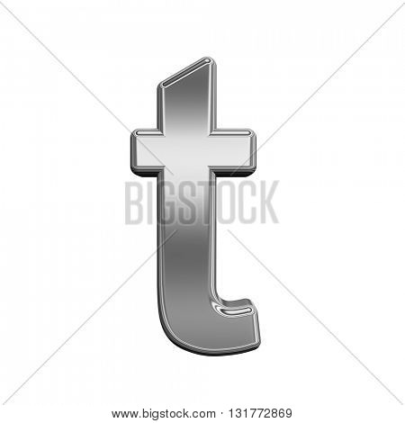 One lower case letter from titanium alphabet set, isolated on white. 3D illustration.