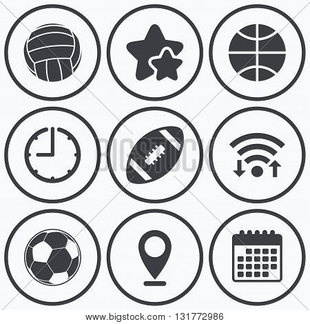 Clock, wifi and stars icons. Sport balls icons. Volleyball, Basketball, Soccer and American football signs. Team sport games. Calendar symbol.