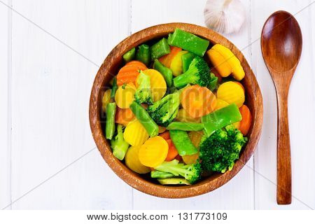 Steamed Vegetables Potatoes, Carrots, Cauliflower and Broccoli Studio Photo