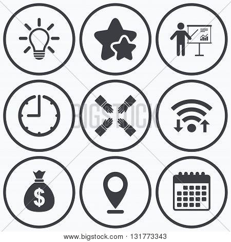 Clock, wifi and stars icons. Presentation billboard icon. Dollar cash money and lamp idea signs. Man standing with pointer. Teamwork symbol. Calendar symbol.