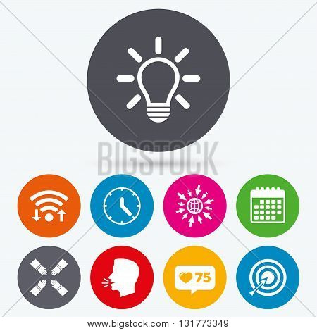 Wifi, like counter and calendar icons. Lamp idea and clock time icons. Target aim sign. Darts board with arrow. Teamwork symbol. Human talk, go to web.