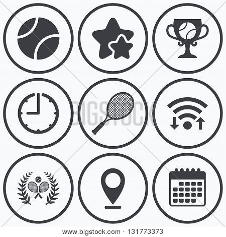 Clock, wifi and stars icons. Tennis ball and rackets icons. Winner cup sign. Sport laurel wreath winner award symbol. Calendar symbol.