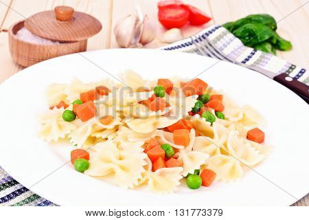 Pasta Bow with Diced Carrots, Salami and Green Peas Studio Photo