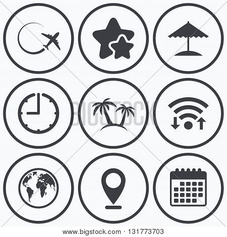Clock, wifi and stars icons. Travel trip icon. Airplane, world globe symbols. Palm tree and Beach umbrella signs. Calendar symbol.