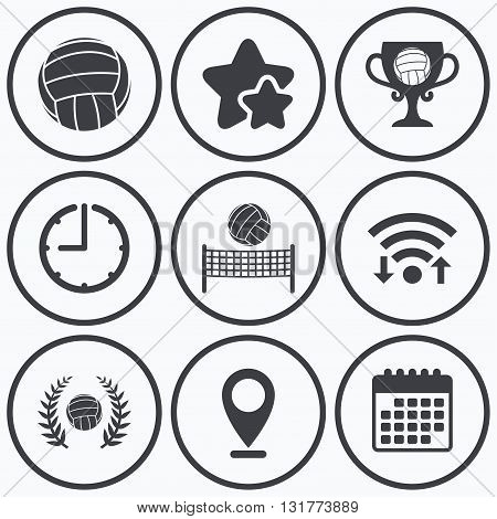 Clock, wifi and stars icons. Volleyball and net icons. Winner award cup and laurel wreath symbols. Beach sport symbol. Calendar symbol.
