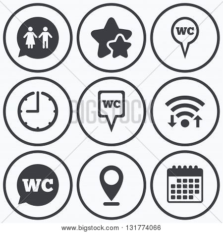 Clock, wifi and stars icons. WC Toilet pointer icons. Gents and ladies room signs. Man and woman speech bubble symbols. Calendar symbol.