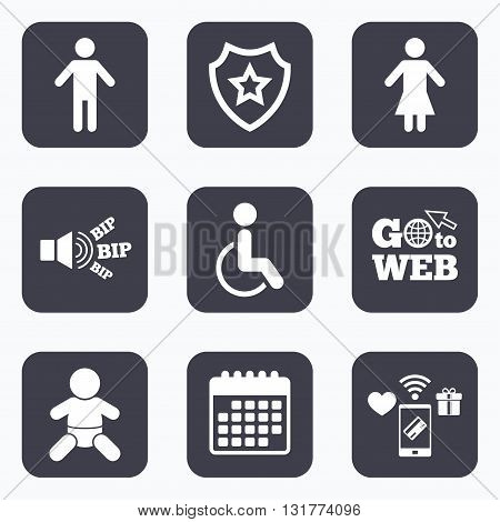 Mobile payments, wifi and calendar icons. WC toilet icons. Human male or female signs. Baby infant or toddler. Disabled handicapped invalid symbol. Go to web symbol.