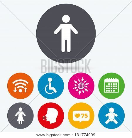 Wifi, like counter and calendar icons. WC toilet icons. Human male or female signs. Baby infant or toddler. Disabled handicapped invalid symbol. Human talk, go to web.