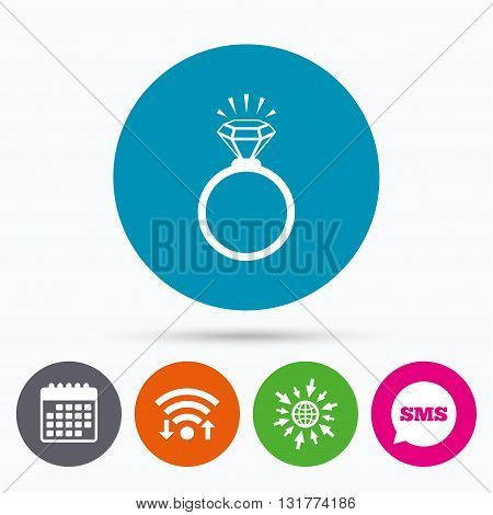 Wifi, Sms and calendar icons. Ring sign icon. Jewelry with shine diamond symbol. Wedding or engagement day symbol. Go to web globe.