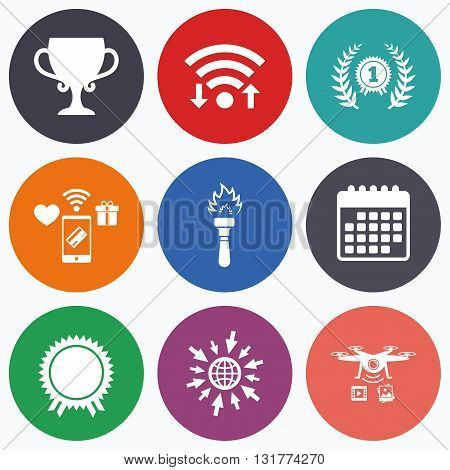 Wifi, mobile payments and drones icons. First place award cup icons. Laurel wreath sign. Torch fire flame symbol. Prize for winner. Calendar symbol.