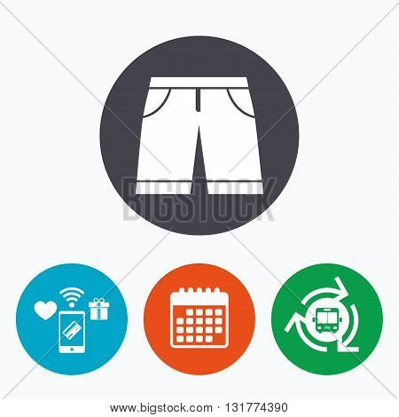 Men's Bermuda shorts sign icon. Clothing symbol. Mobile payments, calendar and wifi icons. Bus shuttle.