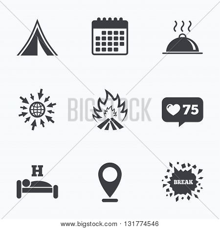 Calendar, like counter and go to web icons. Hot food, sleep, camping tent and fire icons. Hotel or bed and breakfast. Road signs. Location pointer.
