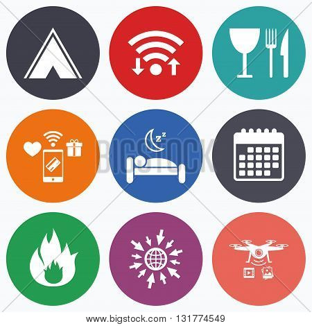 Wifi, mobile payments and drones icons. Food, sleep, camping tent and fire icons. Knife, fork and wineglass. Hotel or bed and breakfast. Road signs. Calendar symbol.