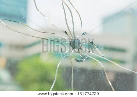 Close up of crack on the glass