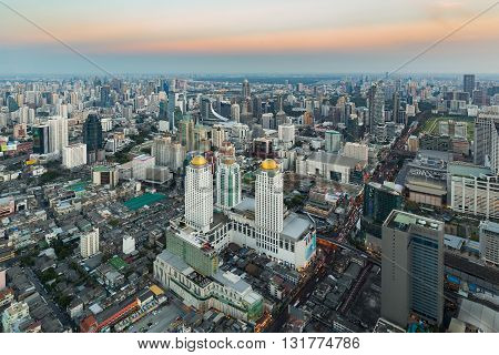 Aerial view, Central business downtown in Bangkok Thailand