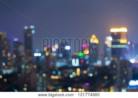 Abstract blurred bokeh background, night lights office building