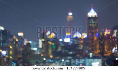 Blurred bokeh lights, city downtown abstract background