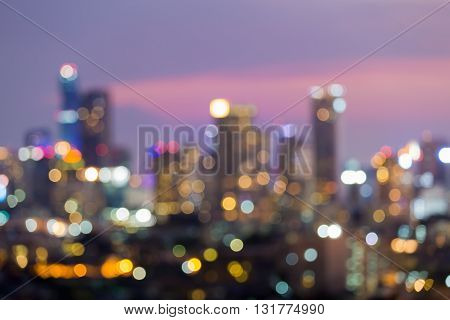 Abstract blurred bokeh lights background, office building lights night view