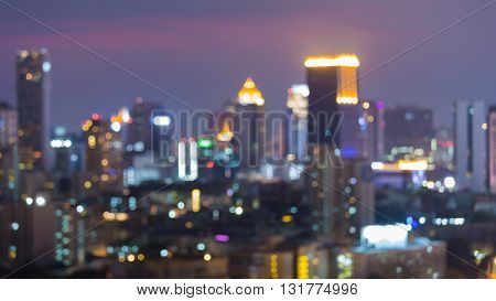 Blurred bokeh lights background, office building lights night view