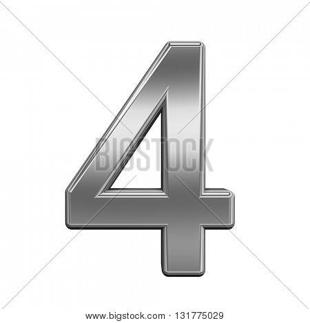 One digit from titanium alphabet set, isolated on white. 3D illustration.