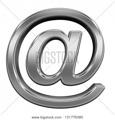 Mail sign from titanium alphabet set, isolated on white. 3D illustration.