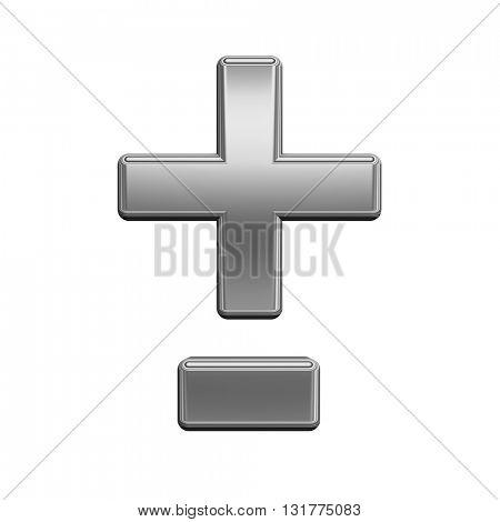 Hyphen, minus, plus marks from titanium alphabet set, isolated on white. 3D illustration.