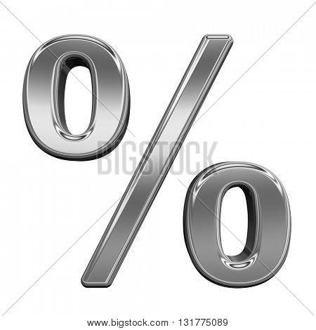 Percent sign from titanium alphabet set, isolated on white. 3D illustration.