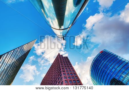 Berlin Germany - May 15 2016: skyscrapers at Potsdamer Platz in Berlin. It is an important public square and traffic intersection in the centre of Berlin