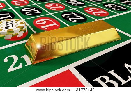 rendered gold bar and tokens on the roulette table, 3d rendering