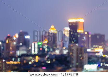 Blurred lights city office building, abstract bokeh background night view