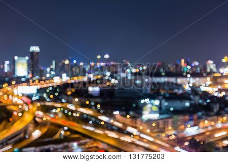 Abstract blurred bokeh lights, city with highway interchanged night view