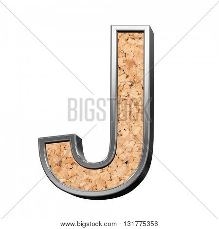 One letter from cork with silver shiny frame alphabet set, isolated on white. 3D illustration.