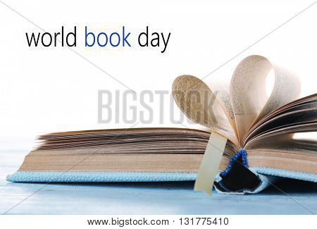 Open book isolated on white. World Book Day poster