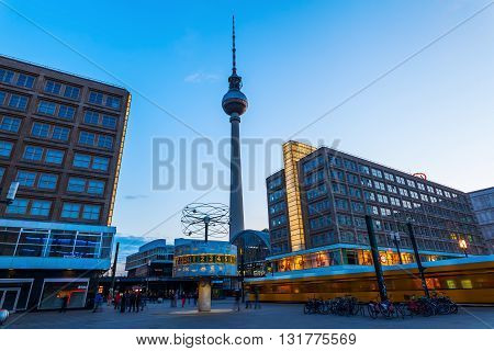 Berlin Germany - May 16 2016: TV Tower with unidentified people. It was constructed in the 60ies by the administration of the GDR with 368 m it is the tallest structure of Germany and 2nd of the EU