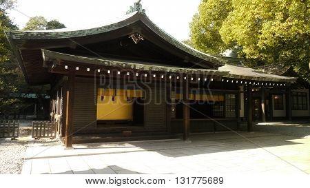 Small building of the Meiji Shinto complex (Meiji Jingu) in Tokyo, Japan
