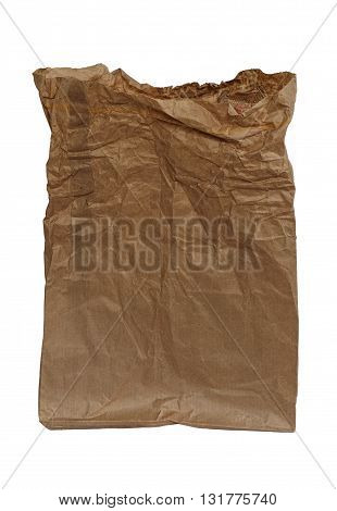 Crumpled brown paper bag, isolated on white background