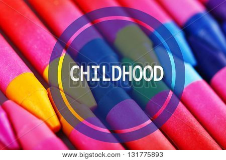 Colorful pastel crayons as background.Concept of childhood