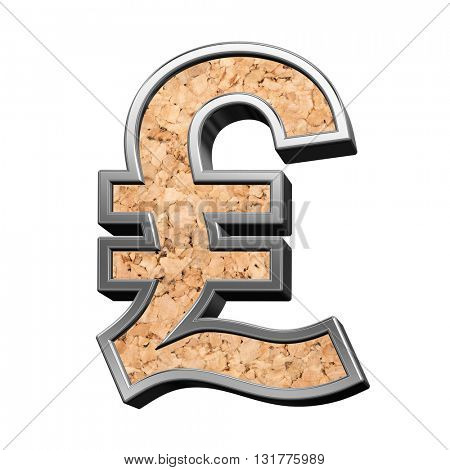 Pound sign from cork with silver shiny frame alphabet set, isolated on white. 3D illustration.