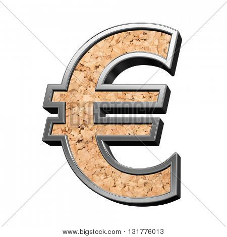 Euro sign from cork with silver shiny frame alphabet set, isolated on white. 3D illustration.