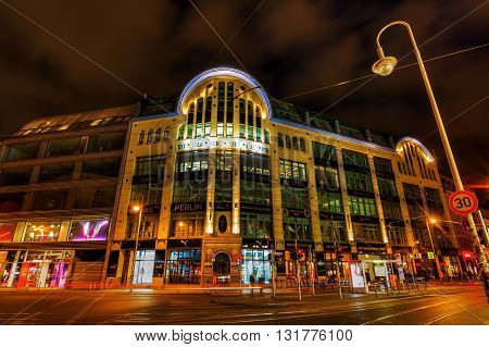 Berlin Germany - May 16 2016: night view of Hackesche Hoefe at Hackescher Markt. It is a notable courtyard complex designed in Art Nouveau style by August Endel