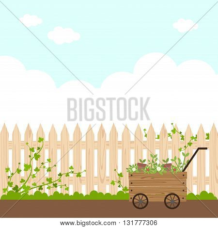 flat illustration background of garden fence and plants