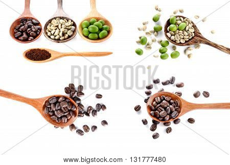 Collection Green coffee beansRoasted coffee beansRaw coffee beans in wooden spoon on white background.