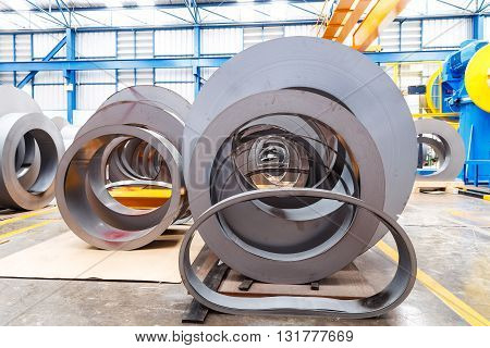 Rolls of metal sheet before assembly in factory