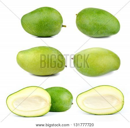 Collection Fresh Mango Green Mango isolated on white background.