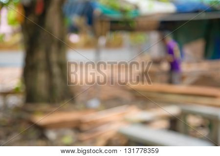 blurred carpenter and wood bar in nature.
